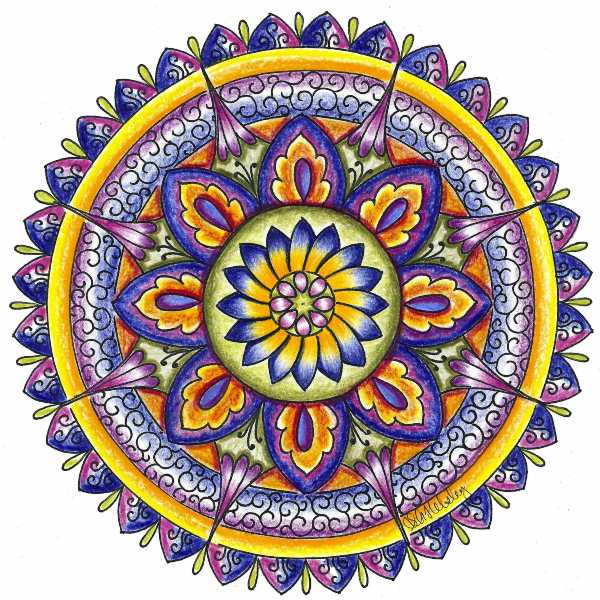 Mandala coloreado morado y azul